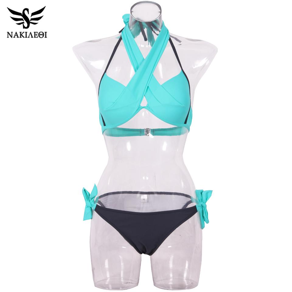 NAKIAEOI 19 Sexy Bikini Women Swimsuit Push Up Swimwear Criss Cross Bandage Halter Bikini Set Beach Bathing Suit Swim Wear XXL 65