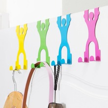 1 pc 2106 Super Deal Cute Stainless Steel Over the Door Dual Hanger Hook Hat Coat Holder 4 colors For Hang bag Clothes Towels(China)