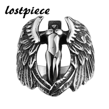 Lostpiece Titanium Steel Vintage Angel Wing Ring 2016 New Trendy Party Ring Top Quality Wholesale Punk Jewelry LTR0157