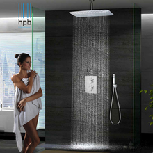 55cmx35cm Bathroom In Wall Shower Set Square Chuveiro top spray booster thermostatic or Hot and Cold water Rain Shower System