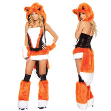 New Adult Womens Sexy Orange Halloween Party Fox Costumes Outfit Fancy Animal Cosplay Dress With Big Tail