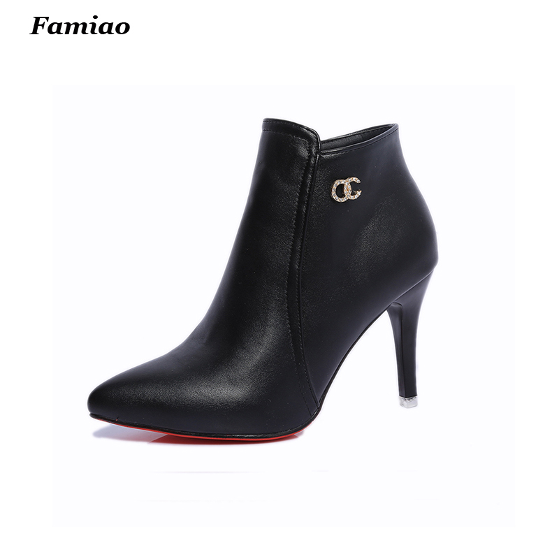 botas mujer 2017 Brand women boots elegant pu leather shoes woman fall winter pointed toe  high heels ankle martin boots<br><br>Aliexpress