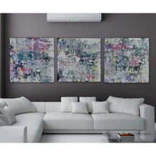 IARTS Modern Abstract Paintings 3 Pieces Unstretchered Digital Oil Painting Blue Art Decor