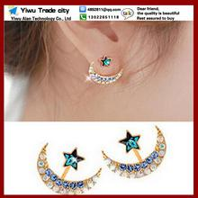 2016 new gold color blue crystal rhinestone star and moon earrings pentacle pendant stud earrings for women fashion Jewelry(China)
