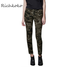 Richkoko Apparel 2017 Summer Women Pants Casual Army Green Female Shaping Trousers Streetwear Brief Style Pants For Ladies