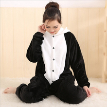 On Sale Women Animal Panda Adult Pajamas Full Sleeve Hooded Soft Flannel Pajama Sets Coral Fleece Pijama Cosplay Animal Pajamas(China)