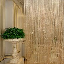 Tassel Glitter Curtains String Champagne for Living Room Window Door Shower Curtain Divider Panels Screen Drape Decoration(China)