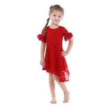 Kaiya Angel 2018 Toddler Girl Summer Dresses Party and Wedding Red String Round Flower Leaf Grass Mesh Children's Clothes(China)