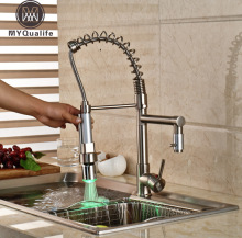 Brushed Nickel LED Light Kitchen Bar Hot Cold Water Faucet Deck Mount Pull Down Sprayer Kitchen Mixer Taps(China)