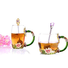 GFHGSD Beauty And The Best Novelty Enamel Coffee Cup Mug Flower Tea Glass Cups for Hot and Cold Drinks, Perfect Gifts For Her(China)
