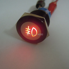 Black Case 12V 19mm Red LED Push Button Metal Switch for Car Fog lights ON/OFF Switch(China)