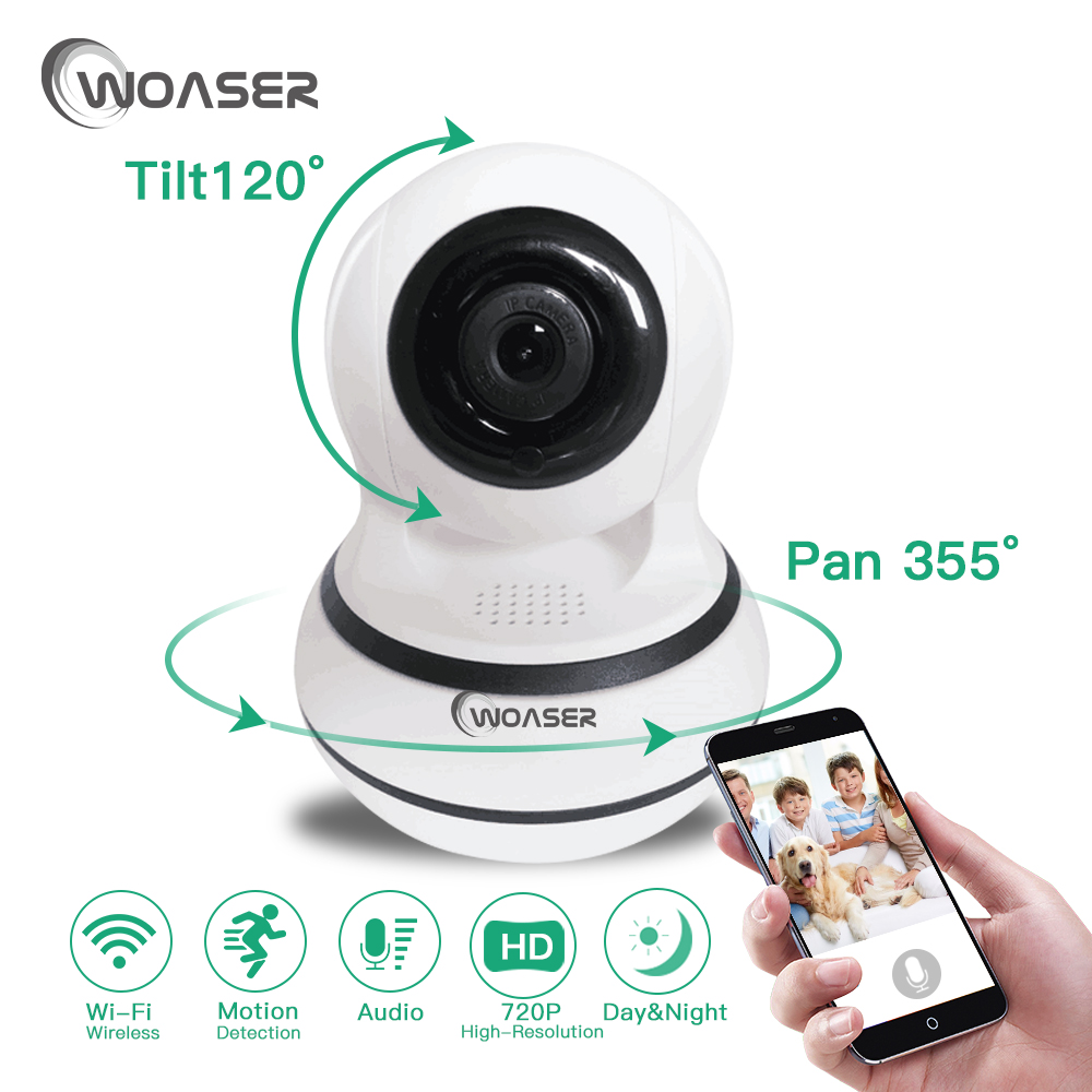 WOASER 1.0MP WIFI IP Camera Security Wireless 720P PTZ Wi-fi IP Camera  IR 10M Night Vision Two Way Audio CCTV Surveillance P2P<br>