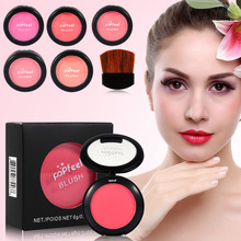 Popfeel 6 Colors Face Blusher Blush Makeup Brushes Palette Powder Bronzer Cosmetics Make Up Brush Set with Mirror Face Maquiagem