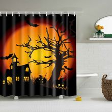 1PC Halloween Bathroom Curtain Set 3D Printed Castle Shower Waterproof Polyester Bath With 12PC