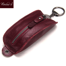 New Genuine Leather Car Key Holder Casual Key Wallet Women Housekeeper Keys Organizer Zipper Keychian Cover Case Bag Coin Purse