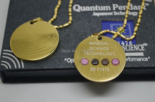free shipping 20pcs/lot gold stainless steel Energy Quantum Scalar Pendant far infrared Stainless Steel Energy Balance Necklace