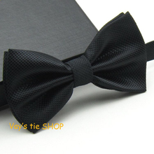 Mens Pajaritas 2017 Fashion Bowtie Dull Jacquard Plaid Grid Bow Ties Leisure Solid Wedding Tuxedo Butterfly Black 12*6CM(China)