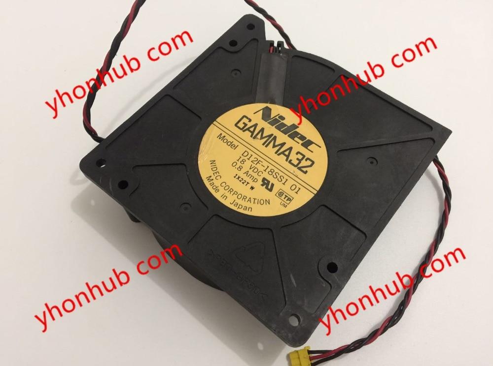 Nidec D12F-18SS1, 01 DC 18V 0.8A, 120x120x32mm  Server Blower fan<br>