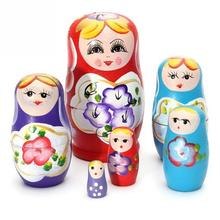 wholesale 5pcs Novelty Russian Nesting Wooden Matryoshka Doll Set Hand Painted Decor Russian Nesting Dolls Baby Toy Girl Doll