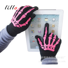 Touch screen sensor gloves mobile phone touch screen sensor wool men and women skull manufacturers direct sales gloves wholesale