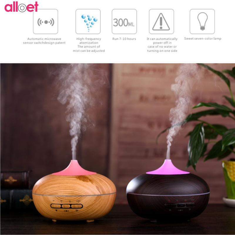 300ml Air Humidifier wood grain Aromatherapy diffusers Essential Oil Diffuser Aroma Mist Maker led light for Home Dropshipping<br>
