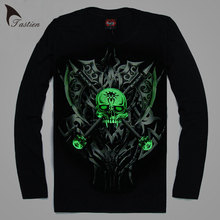 TASTIEN 3D T-Shirt Mens Luminous Print Hot Sale Night Light  Long Sleeves Cotton Fluorescent Personalized Noctilucent Night Tees