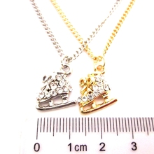 wholesale 6pcs/lot new arrival fashion jewelry items delicate mini ice skates shoes bow pendant necklace(China)