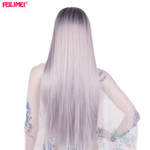 Feilimei Ombre Gray Wig Synthetic Japanese Fiber 60cm 280g Long Straight Full Head Black Grey Wigs for Women Hair Extensions