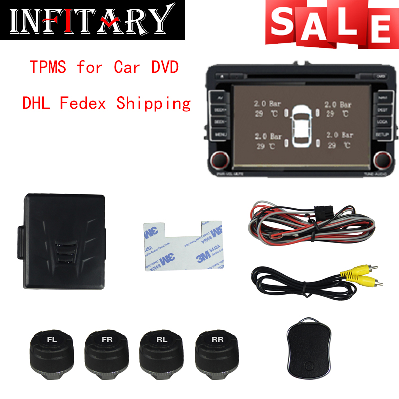 DHL EMS Fedex ship out Car TPMS Tire Pressure Monitoring System With 4 External Black Sensor For Car DVD Player Support Bar/PSI<br><br>Aliexpress