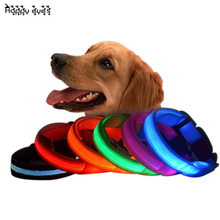 USB Rechargeable 7 Color S M L Size Glow LED Dog Pet Cat Flashing Light Up Nylon Collar Night Safety Collars Supplies Dropship
