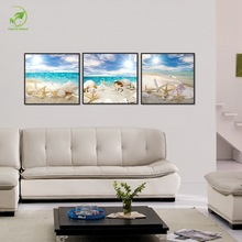 Modular 3pcs Starfish Shell Beach Painting Blue Sky Sun Oil Art Framed Pictures Landscape Wall Art Paint Home Decoration Posters