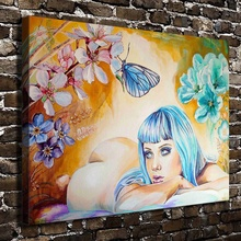 A1069 Blue Hair Sexy Girl Naked Figure Scenery. HD Canvas Print Home decoration Living Room bedroom Wall pictures Art painting