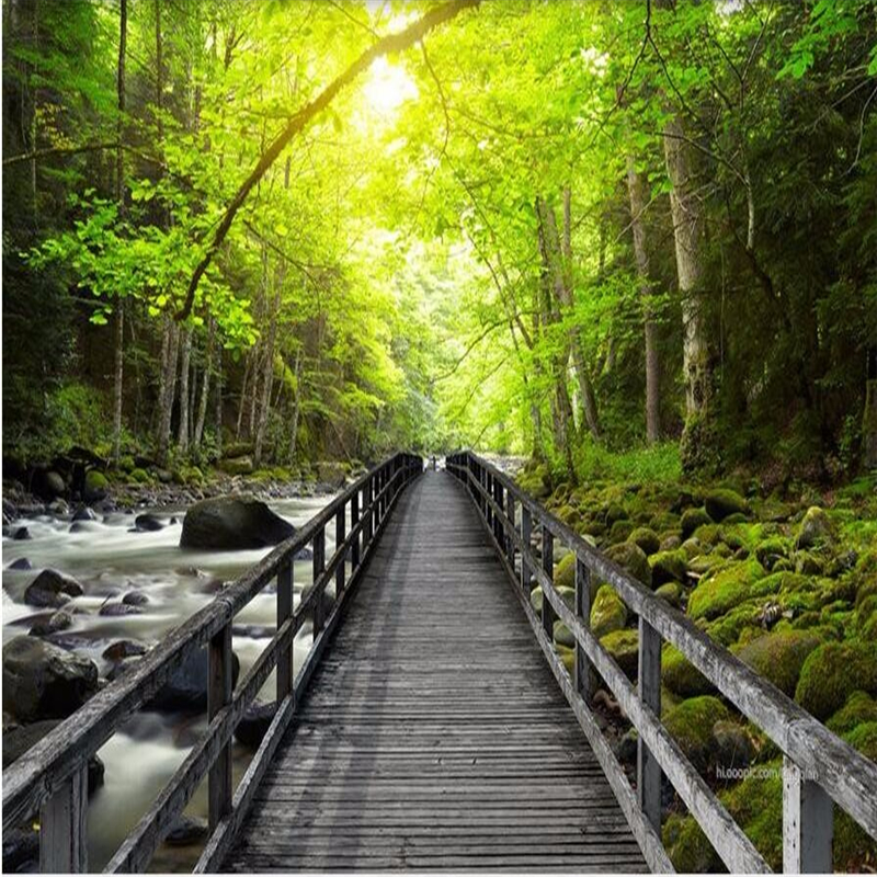 3d wall wallpaper HD Wooden Bridge Creek forest landscape background 3d living room bedroom home decoration photo wall paper<br><br>Aliexpress