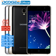 In Stock Now DOOGEE X10 mobile phones 5.0Inch IPS 8GB Android6.0 smart phone Dual SIM MTK6570 5.0MP 3360mAH WCDMA GSM cellphone(China)
