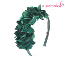 2017 new fashion velvet flower shag OEM hairband children fashion hair accessories with plastic band with gripes teeth