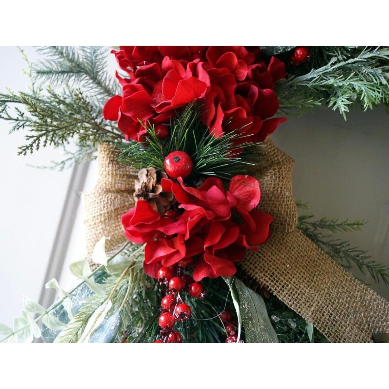 Christmas wreath, Red Rustic Christmas Wreath, Christmas Decoration (3)