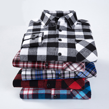 Big size 6XL Men's Flannel Plaid Shirts Dress 2017 High Quality Male Casual Warm Soft Comfort Long Sleeve Shirt Clothes Men MC
