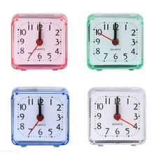 Mini Square Quartz Beep Alarm Clock Plastic Desk Table Travel Trip Portable H06(China)