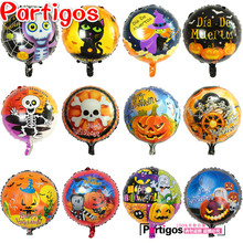 Mixed 10PCS Happy Halloween Party 18 inch round Foil Balloon Printed ghost/Pumpkin/Witch/Skull Mylar Globos Kids Toys Balls