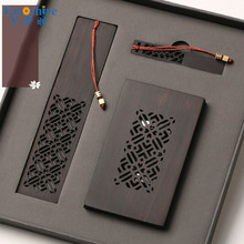 Wholesale Wooden Crafts Chinese Style Gift Custom Creative Gift Card Holder Set Bookmark Wooden U Disk M017