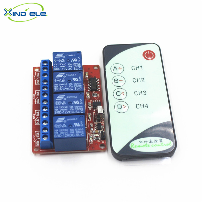 XIND ELE 4 way 12V DC IR Remote Self-lock Switch Module + 5-key Remote For Home Auto Light Garage Door #IR12-4SM+PM5#<br><br>Aliexpress