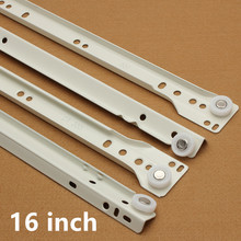 "1 Pair 16"" two sections slides runner spring ball bearing for cabinets/drawers/cuboards(China)"