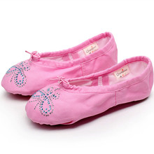 Pink black white green blue red flesh ballet flats Canvas flats mulheres with Rhinstones ballet shoes for girls from 22 to 42(China)