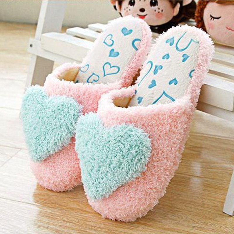 IVI heart pattern winter warm fur plush slippers for winter used indoor<br><br>Aliexpress