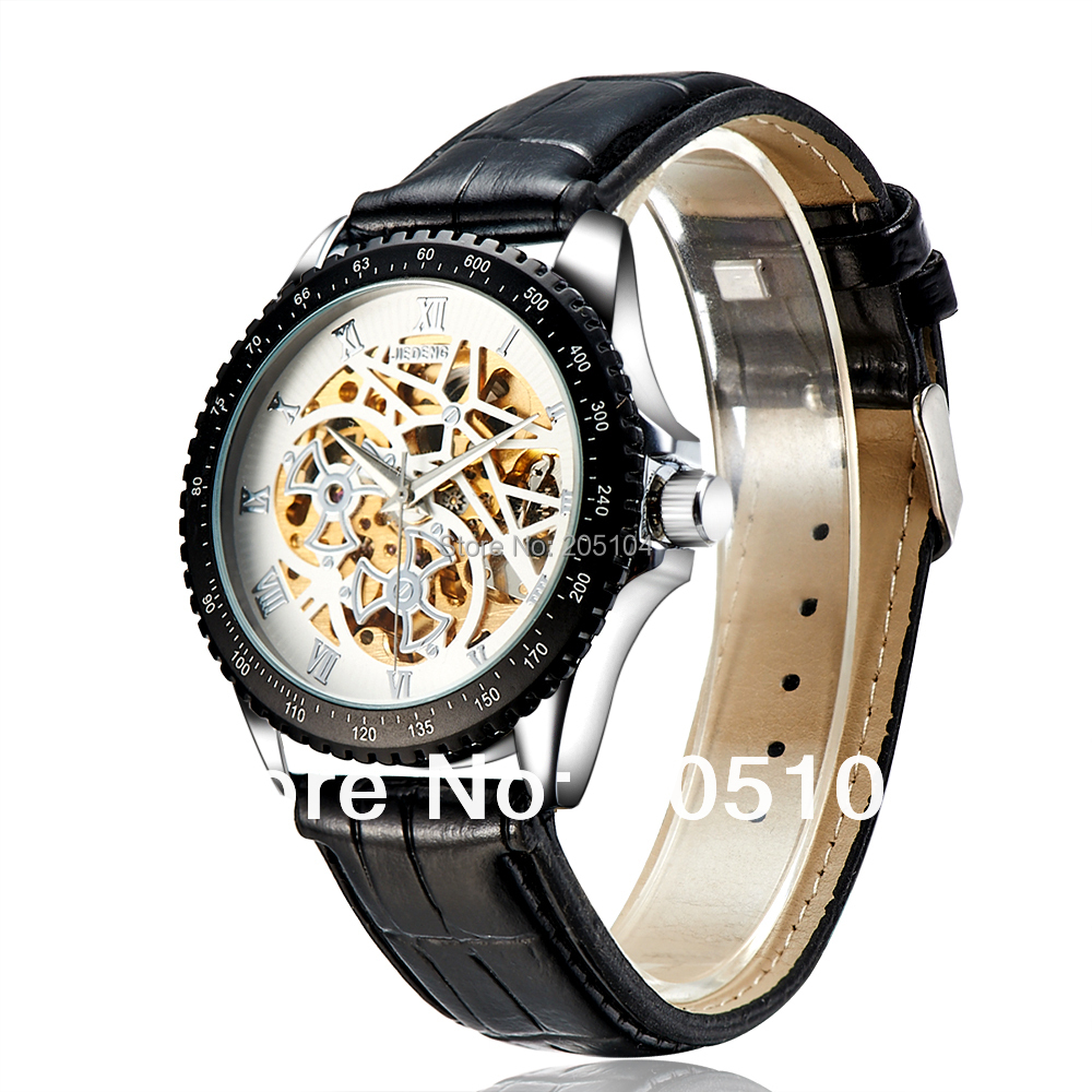 Brand Luxury Men Mechanical Watches Roma Number Marks Hollow Out Big Dial 2.5cm Width Black Leather Strap Watch,Wristwatch,Clock<br><br>Aliexpress