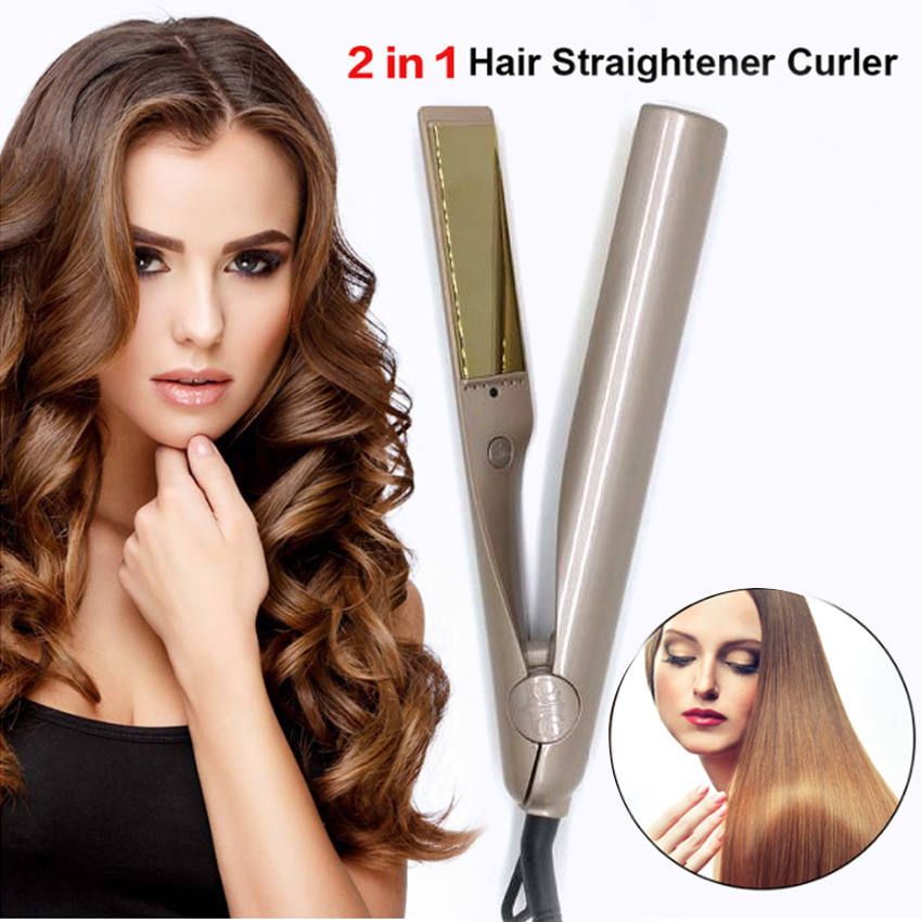 Free Shipping New Fashion Salon Quality 2-in-1 Hair Curling &amp; Straightening Iron Hair Curler Flat Iron Hair Straightener<br>