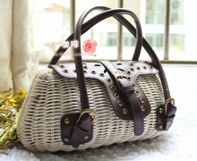 33x16CM  cane   copper buckle retro personality straw bag rattan cane covered plastic  A2367