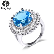 Blue Cubic Zirconia Egg Shape Rings Silver Color Fashion Spacial Wedding/Engagement Ring Jewelry For Women Gift(China)