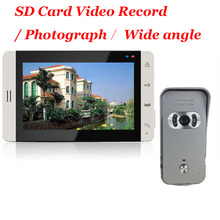 Home Wired 7 inch Color TFT Touch Video Doorphone Intercom SD Card Video Record / Photograph 700TVL Wide angle IR Cameras System
