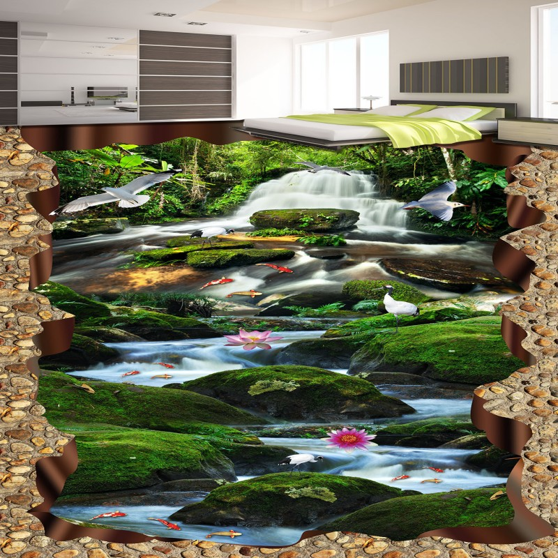 Free Shipping huge 3D Waterfall Green Tree Creek Carp flooring painting wallpaper self-adhesive thicken floor mural<br>